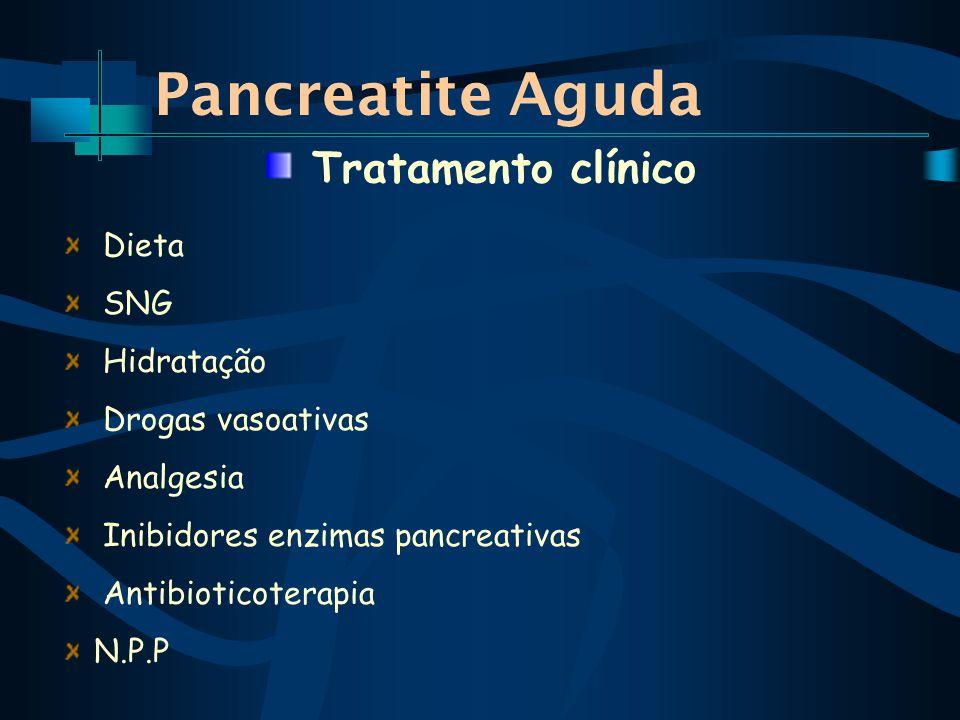 Pancreatite Aguda Tratamento clínico Dieta SNG Hidratação