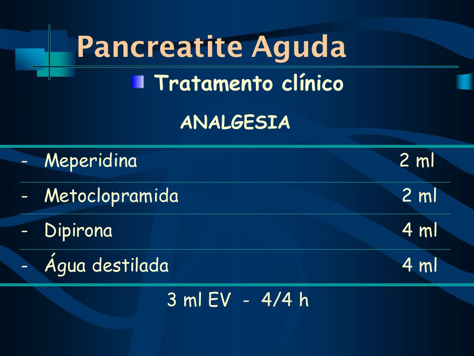Pancreatite Aguda Tratamento clínico ANALGESIA Meperidina 2 ml