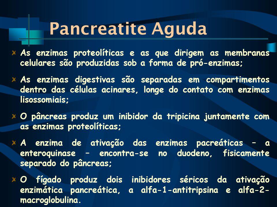 Pancreatite Aguda As enzimas proteolíticas e as que dirigem as membranas celulares são produzidas sob a forma de pró-enzimas;