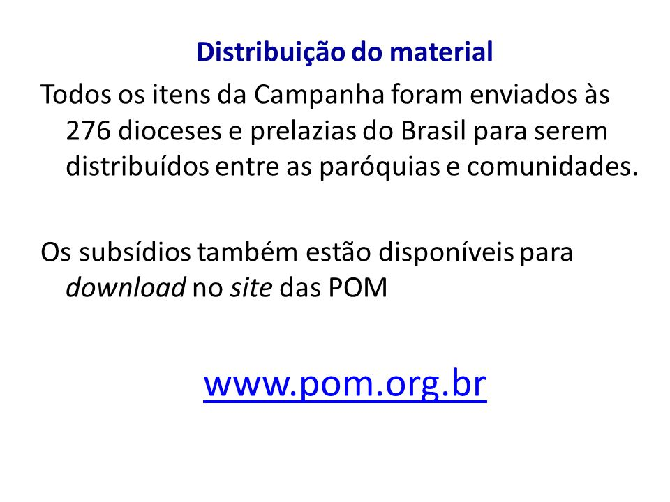 Distribuição do material