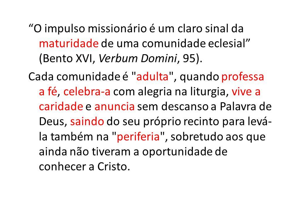 O impulso missionário é um claro sinal da maturidade de uma comunidade eclesial (Bento XVI, Verbum Domini, 95).