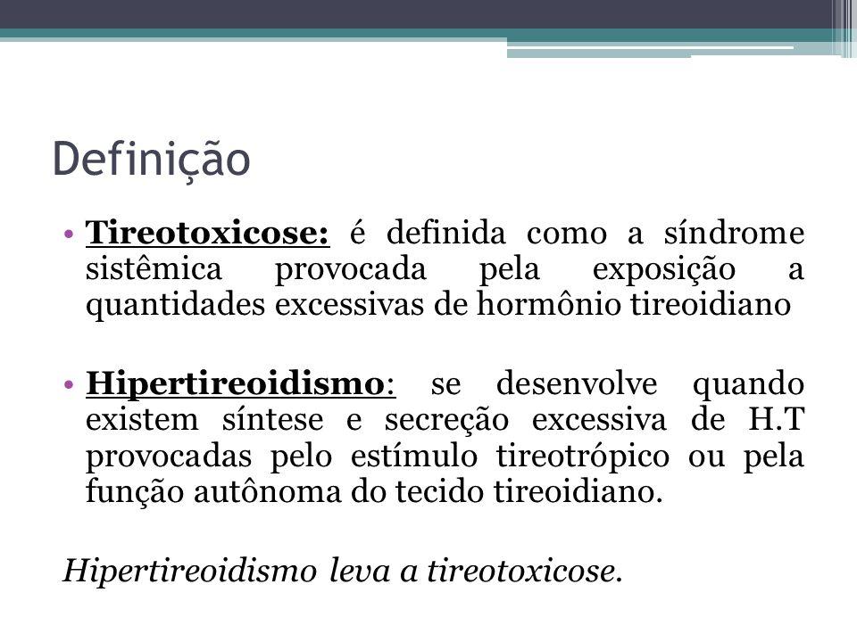 Definição Tireotoxicose: é definida como a síndrome sistêmica provocada pela exposição a quantidades excessivas de hormônio tireoidiano.
