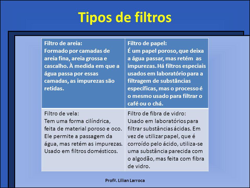 Tipos de filtros Filtro de areia: