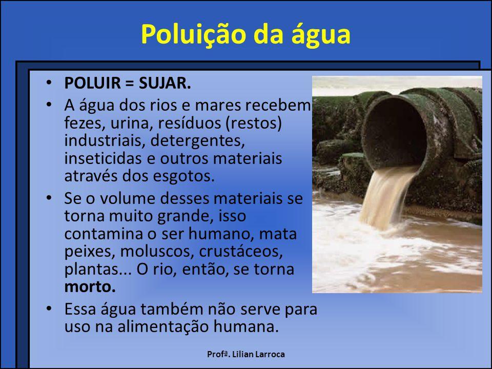 Poluição da água POLUIR = SUJAR.