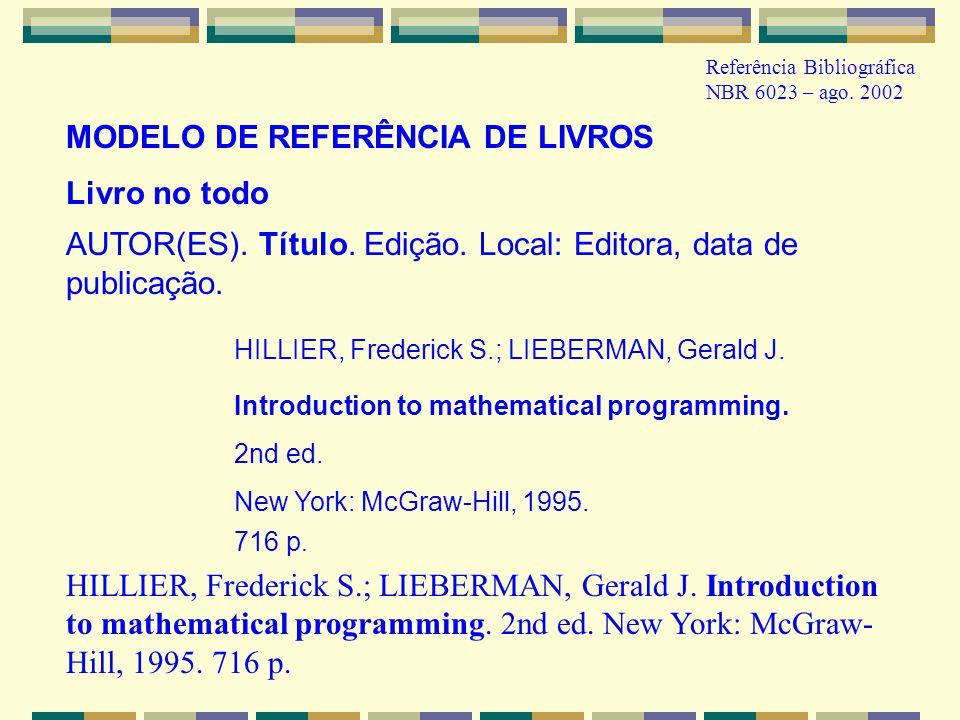 MODELO DE REFERÊNCIA DE LIVROS