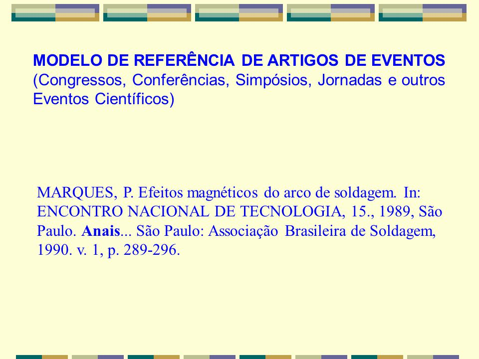 MODELO DE REFERÊNCIA DE ARTIGOS DE EVENTOS