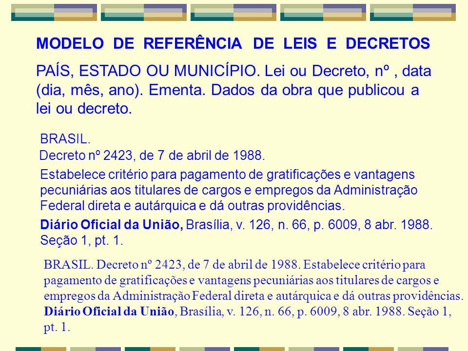 MODELO DE REFERÊNCIA DE LEIS E DECRETOS