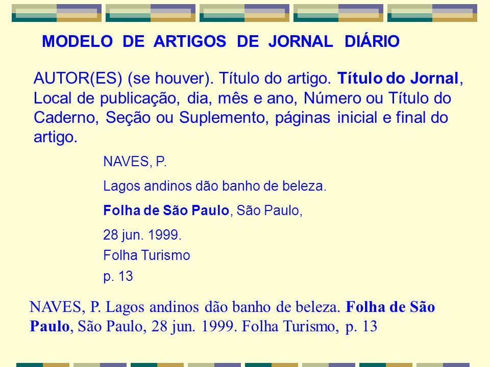 MODELO DE ARTIGOS DE JORNAL DIÁRIO