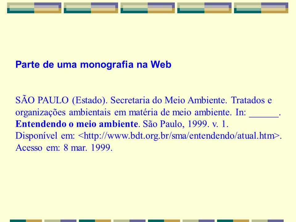 Parte de uma monografia na Web