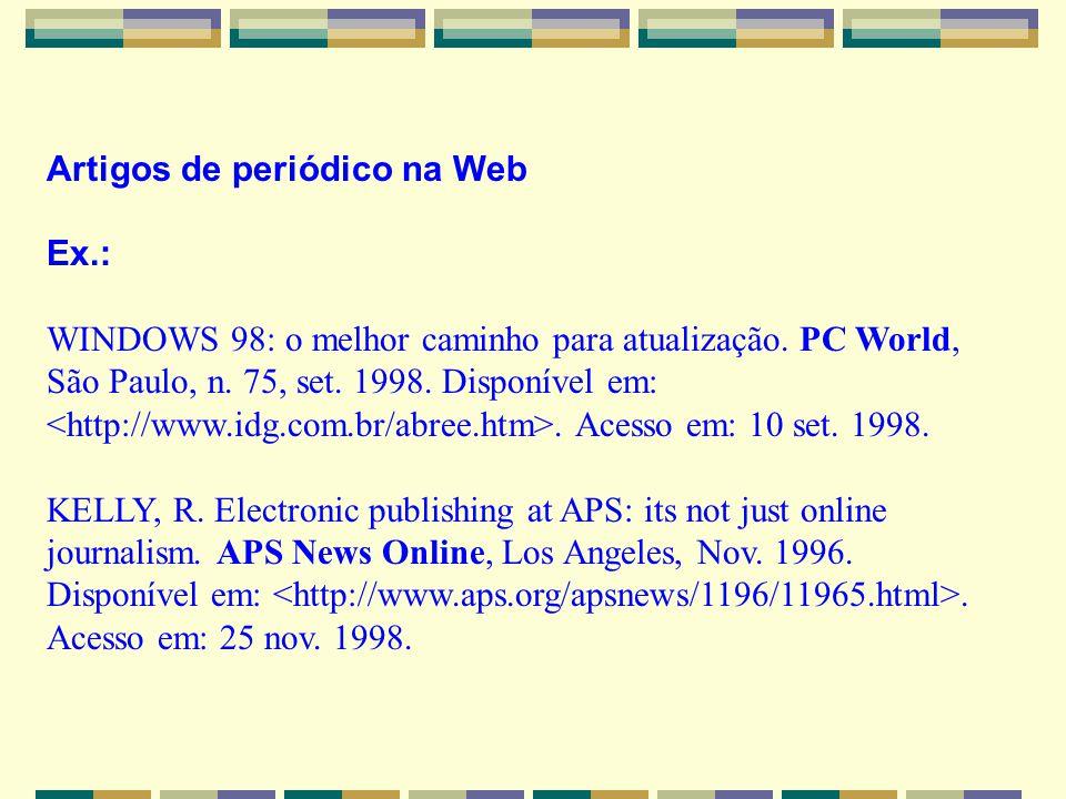 Artigos de periódico na Web