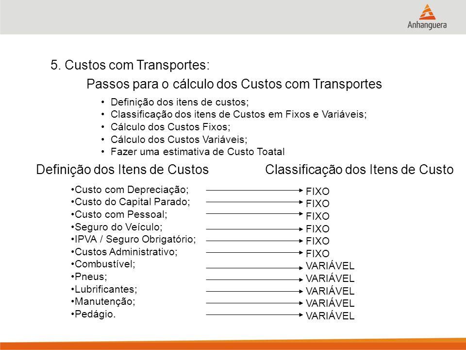 5. Custos com Transportes:
