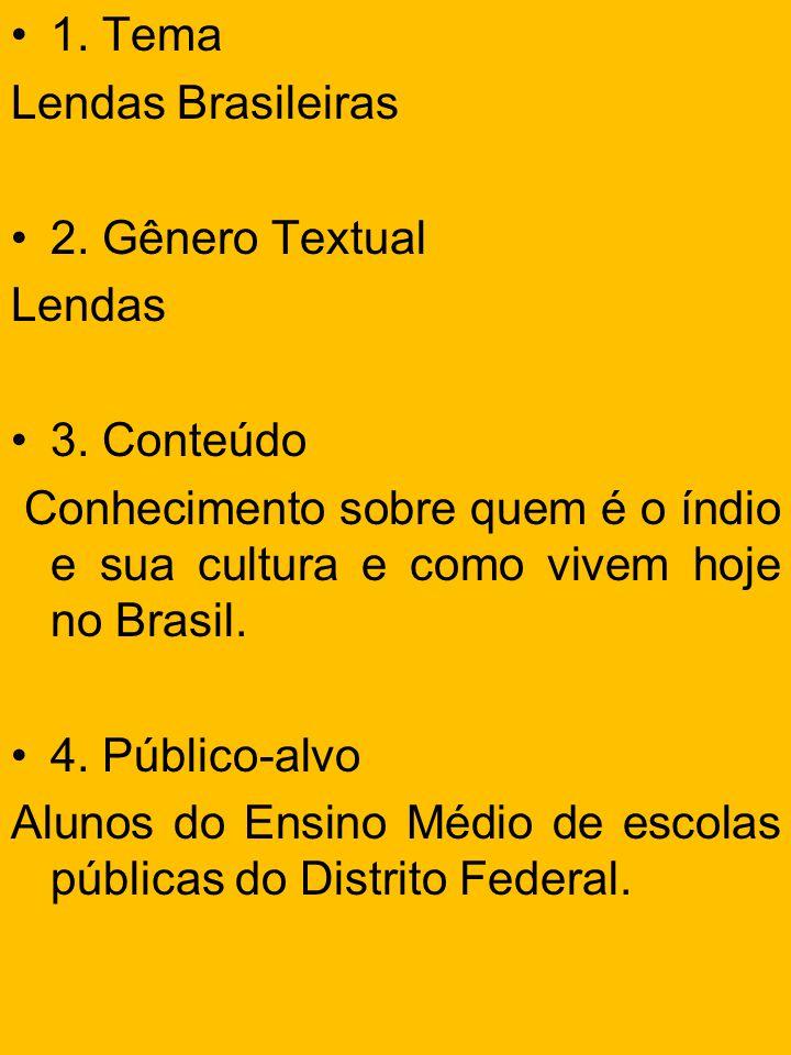 1. Tema Lendas Brasileiras. 2. Gênero Textual. Lendas. 3. Conteúdo. Conhecimento sobre quem é o índio e sua cultura e como vivem hoje no Brasil.