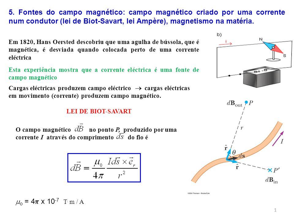 5. Fontes do campo magnético: campo magnético criado por uma corrente num condutor (lei de Biot-Savart, lei Ampère), magnetismo na matéria.