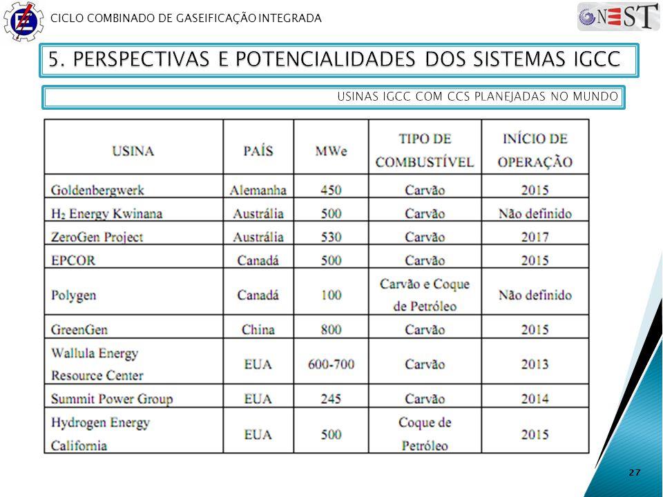 5. PERSPECTIVAS E POTENCIALIDADES DOS SISTEMAS IGCC