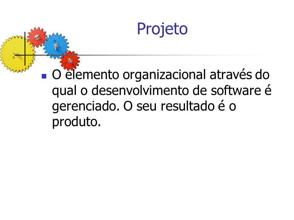 Projeto O elemento organizacional através do qual o desenvolvimento de software é gerenciado.
