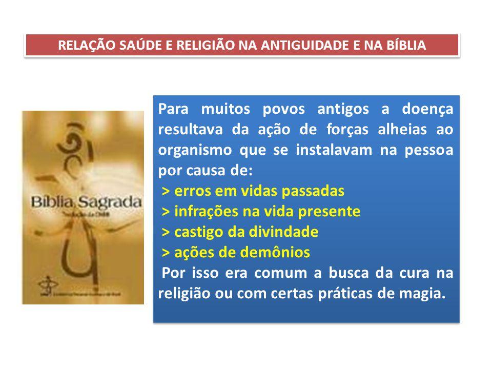 RELAÇÃO SAÚDE E RELIGIÃO NA ANTIGUIDADE E NA BÍBLIA