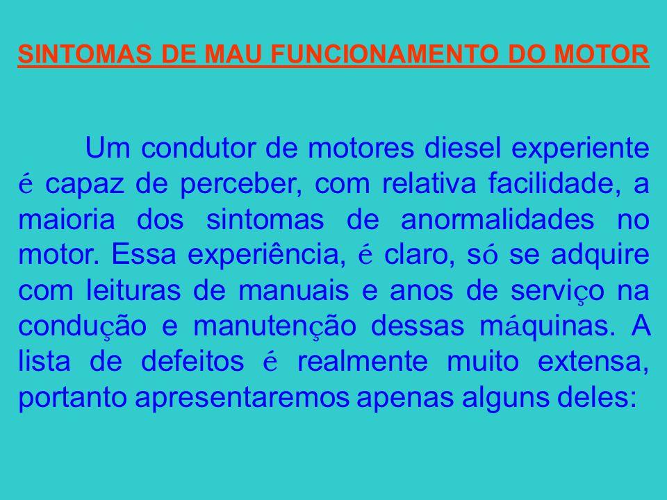 SINTOMAS DE MAU FUNCIONAMENTO DO MOTOR