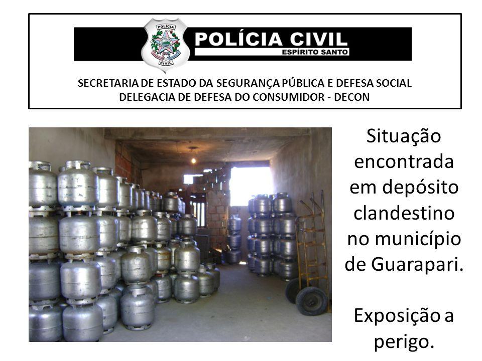 Situação encontrada em depósito clandestino no município de Guarapari.