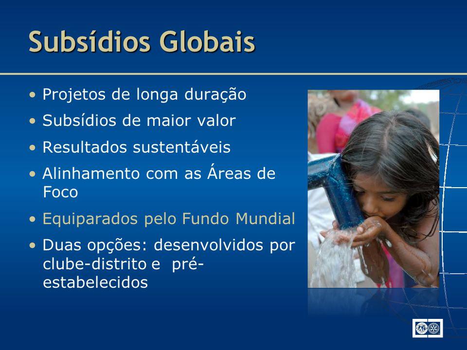 Subsídios Globais • Projetos de longa duração