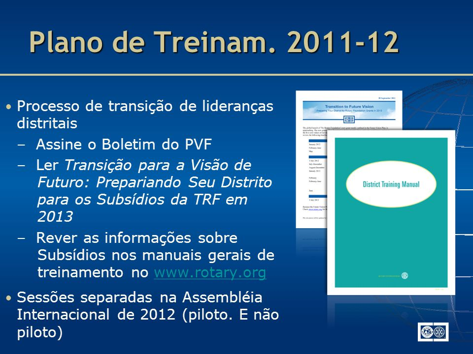 Plano de Treinam. 2011-12 – Assine o Boletim do PVF