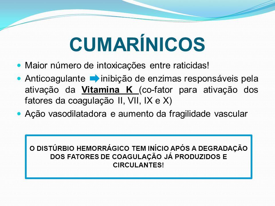 CUMARÍNICOS Maior número de intoxicações entre raticidas!