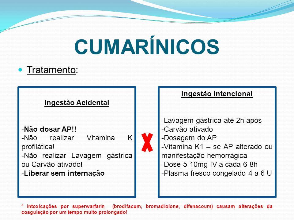 CUMARÍNICOS Tratamento: Ingestão Acidental -Não dosar AP!!