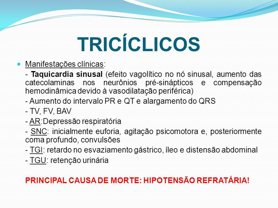 TRICÍCLICOS Manifestações clínicas: