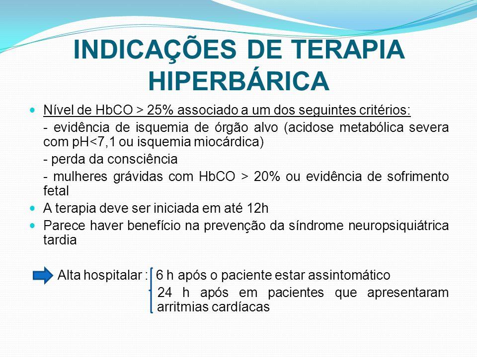INDICAÇÕES DE TERAPIA HIPERBÁRICA