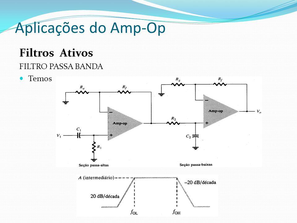 Aplicações do Amp-Op Filtros Ativos FILTRO PASSA BANDA Temos