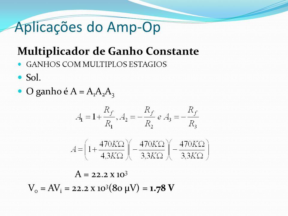 Aplicações do Amp-Op Multiplicador de Ganho Constante Sol.