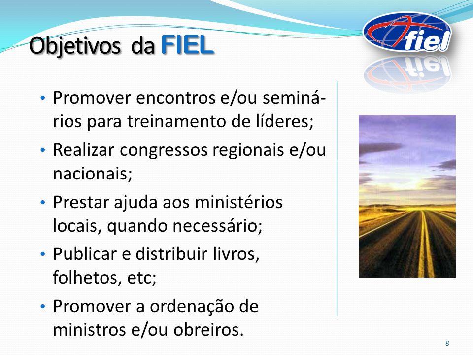 Objetivos da FIEL Promover encontros e/ou seminá-rios para treinamento de líderes; Realizar congressos regionais e/ou nacionais;
