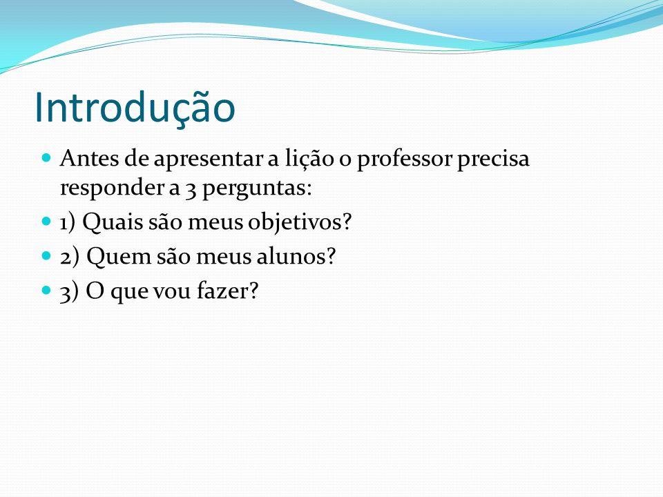 Introdução Antes de apresentar a lição o professor precisa responder a 3 perguntas: 1) Quais são meus objetivos