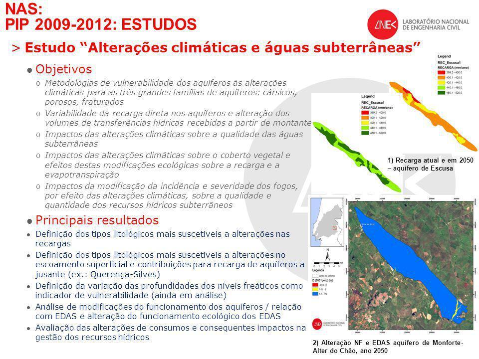 NAS: PIP 2009-2012: ESTUDOS Estudo Alterações climáticas e águas subterrâneas Objetivos.