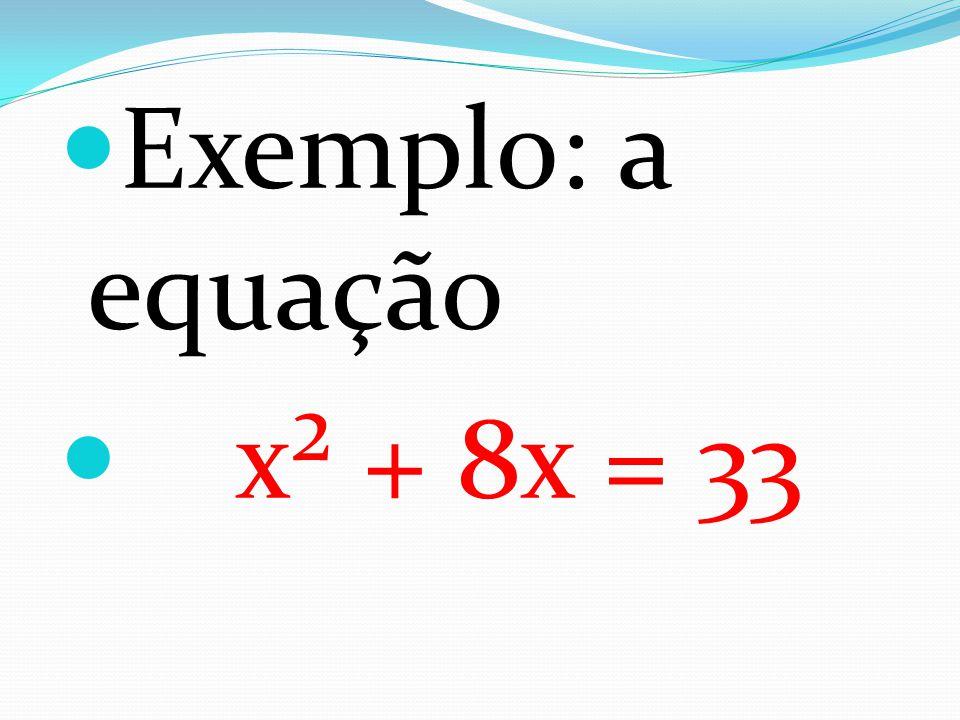 Exemplo: a equação x² + 8x = 33