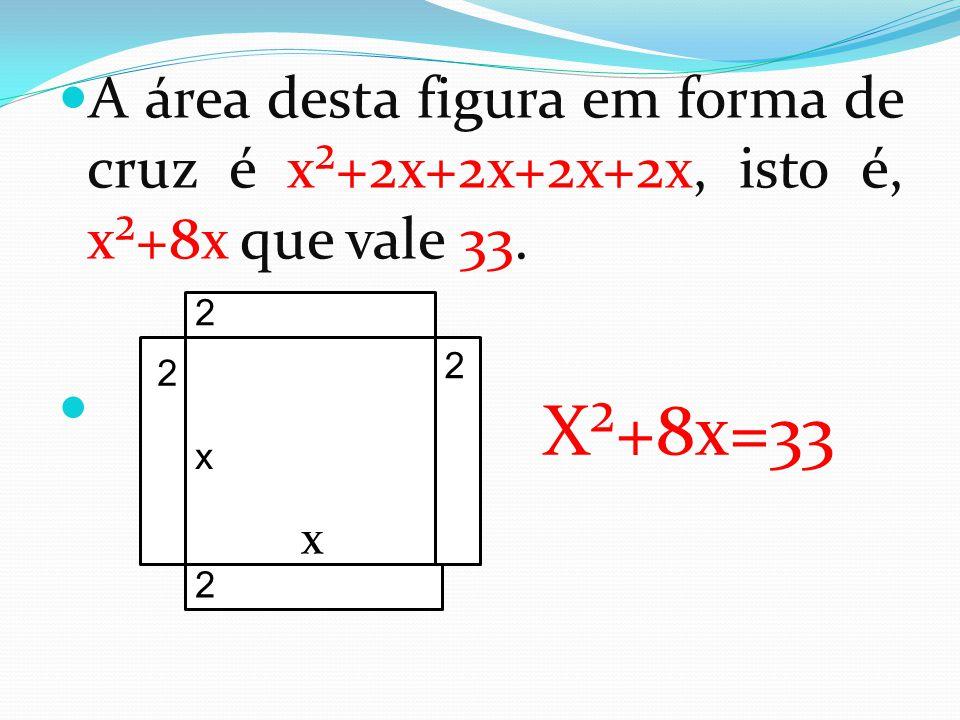 A área desta figura em forma de cruz é x²+2x+2x+2x+2x, isto é, x²+8x que vale 33.