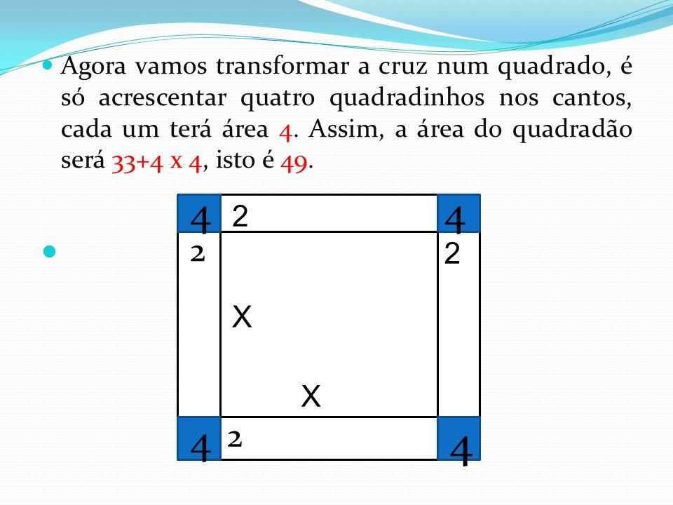 Agora vamos transformar a cruz num quadrado, é só acrescentar quatro quadradinhos nos cantos, cada um terá área 4. Assim, a área do quadradão será 33+4 x 4, isto é 49.