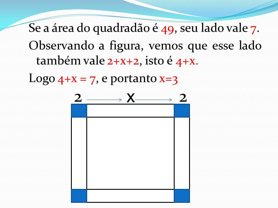 Se a área do quadradão é 49, seu lado vale 7