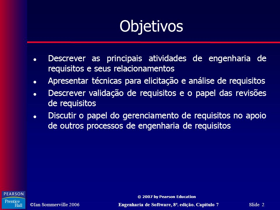 Objetivos Descrever as principais atividades de engenharia de requisitos e seus relacionamentos.