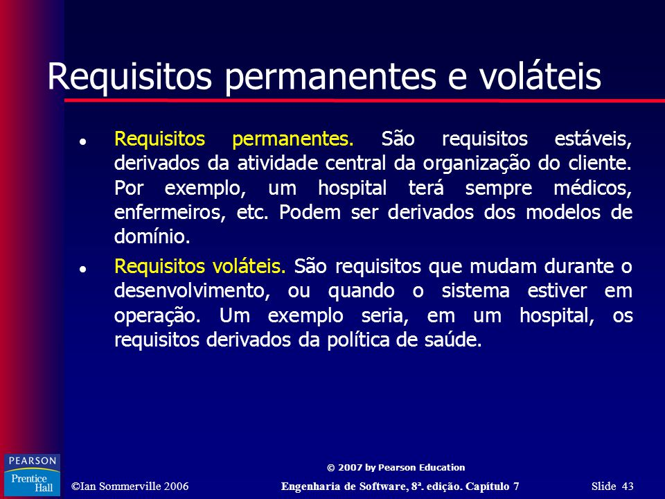 Requisitos permanentes e voláteis