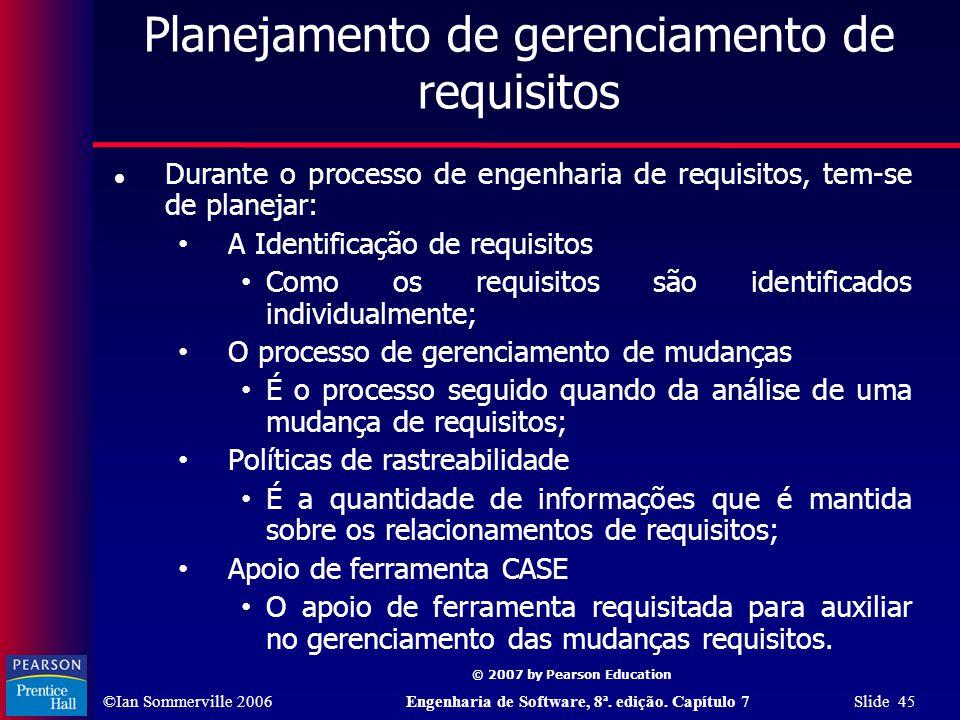 Planejamento de gerenciamento de requisitos