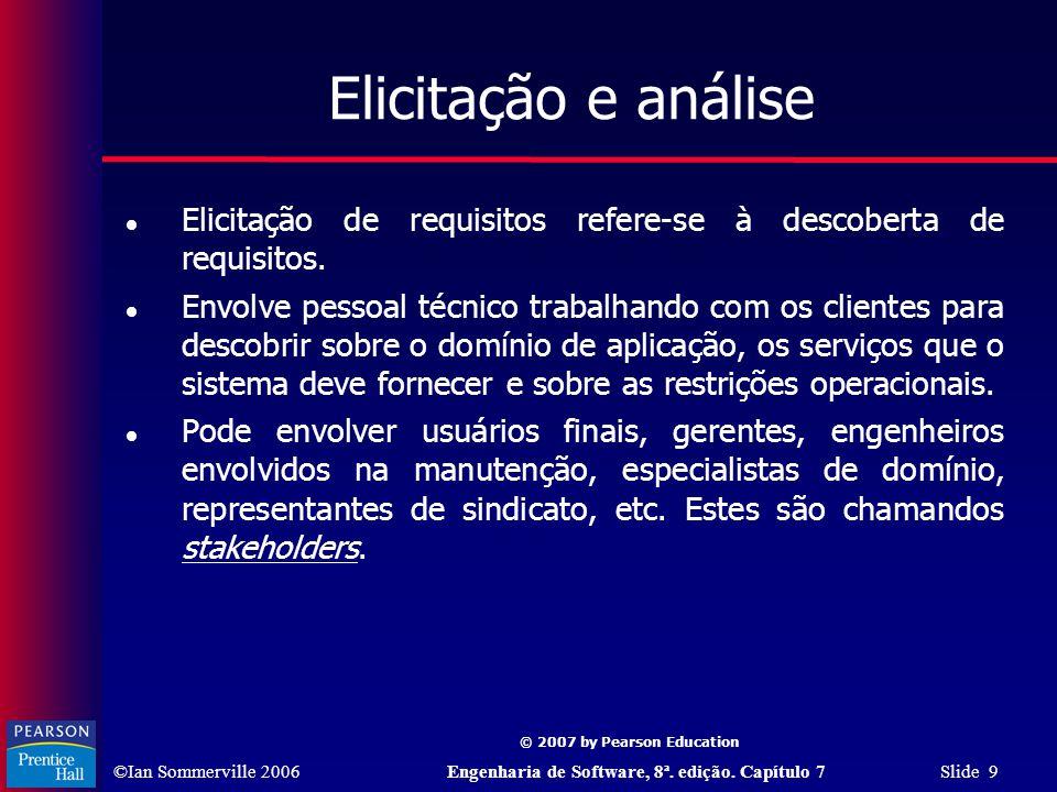 Elicitação e análise Elicitação de requisitos refere-se à descoberta de requisitos.