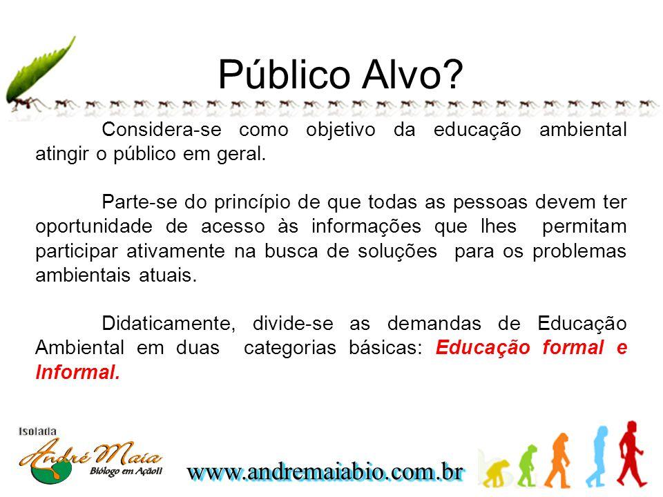 Público Alvo Considera-se como objetivo da educação ambiental atingir o público em geral.