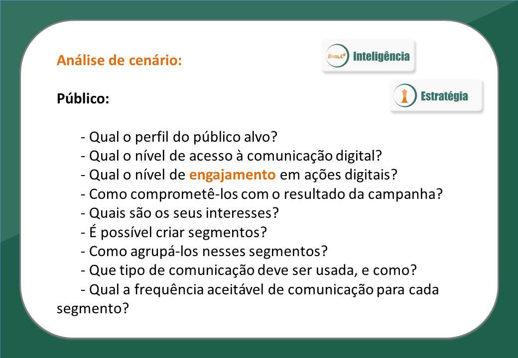 Análise de cenário: Público: - Qual o perfil do público alvo - Qual o nível de acesso à comunicação digital
