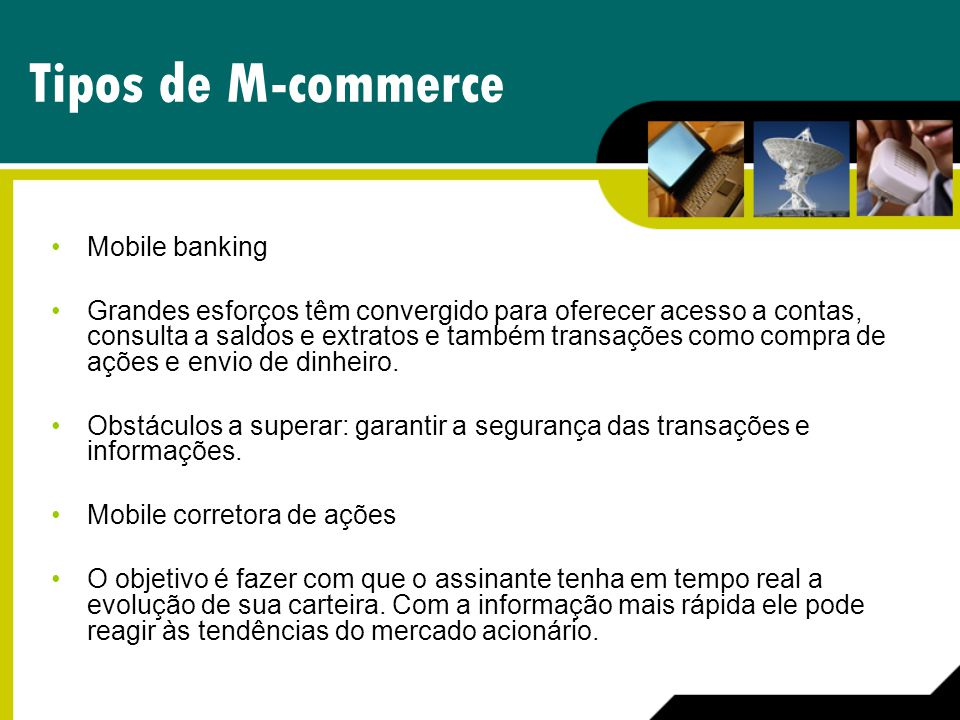 Tipos de M-commerce Mobile banking