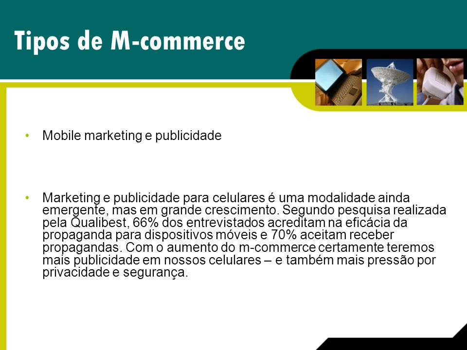 Tipos de M-commerce Mobile marketing e publicidade