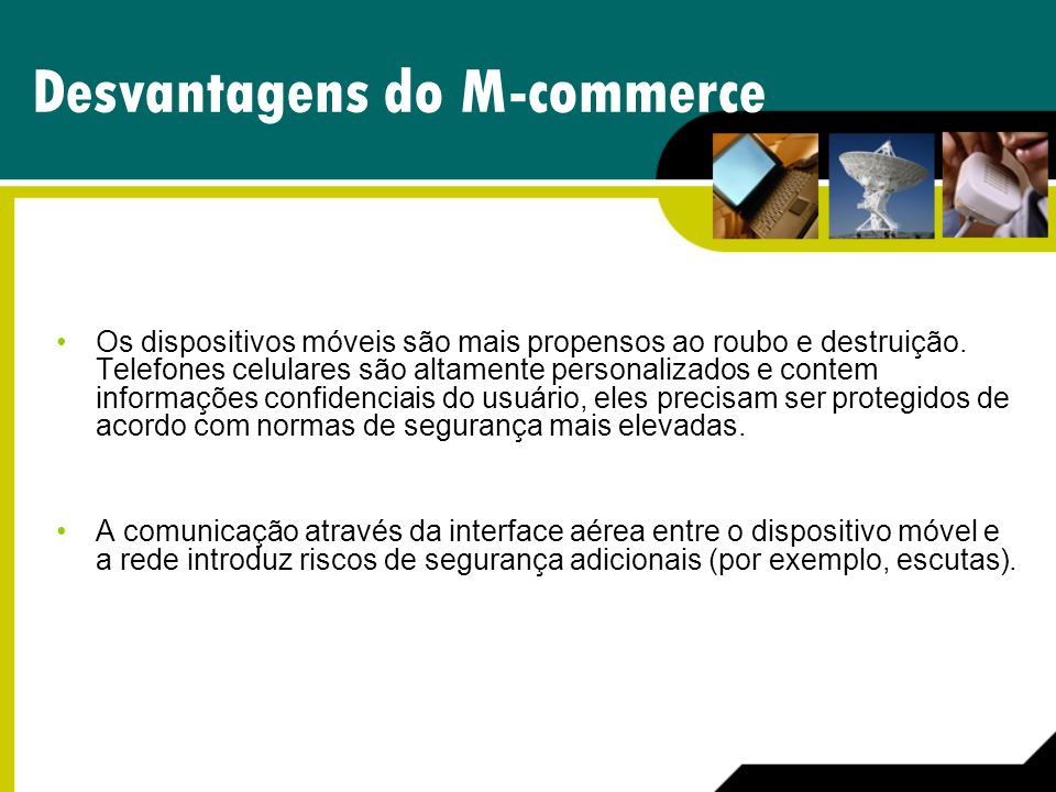 Desvantagens do M-commerce