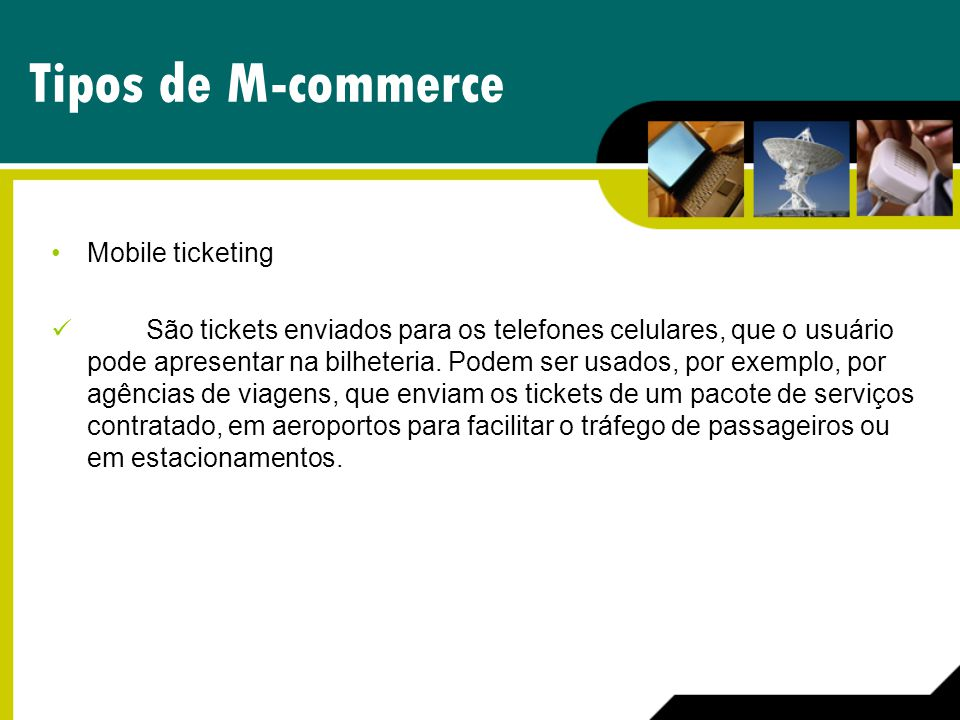 Tipos de M-commerce Mobile ticketing