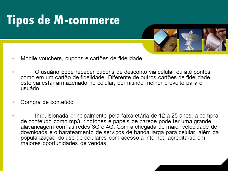 Tipos de M-commerce Mobile vouchers, cupons e cartões de fidelidade