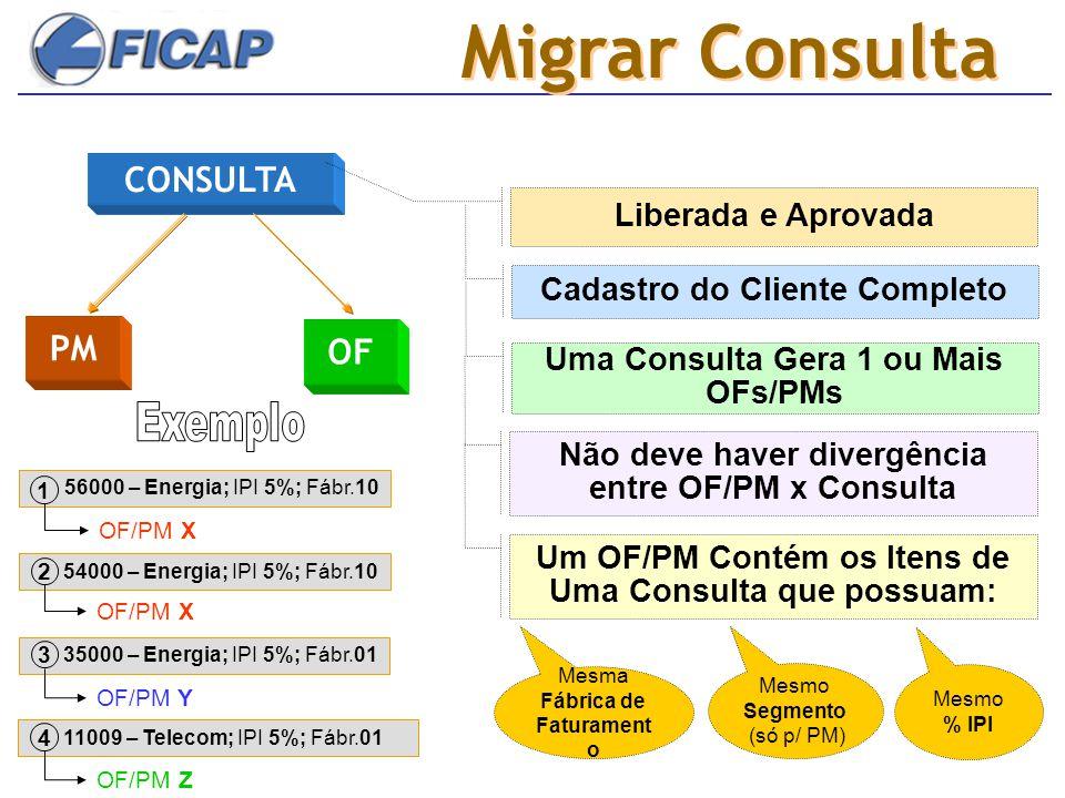 Migrar Consulta CONSULTA PM OF Exemplo Liberada e Aprovada