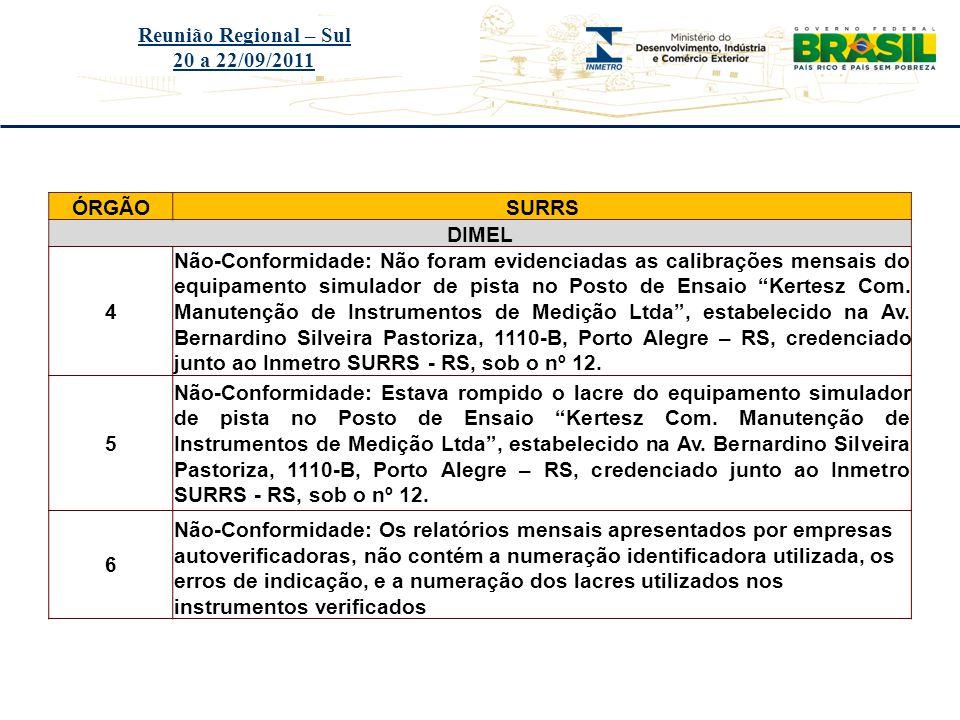 Reunião Regional – Sul 20 a 22/09/2011. ÓRGÃO. SURRS. DIMEL. 4.